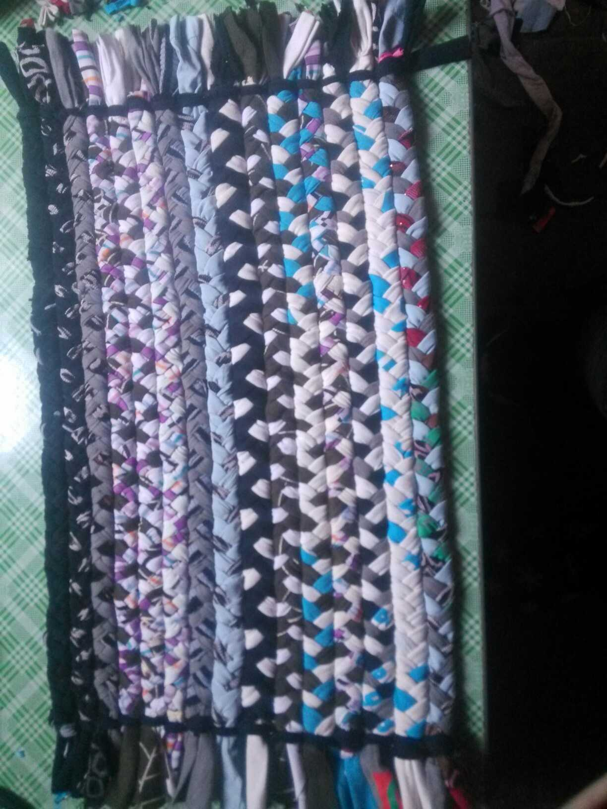 旧衣服编织地毯垫 - 巧手diy