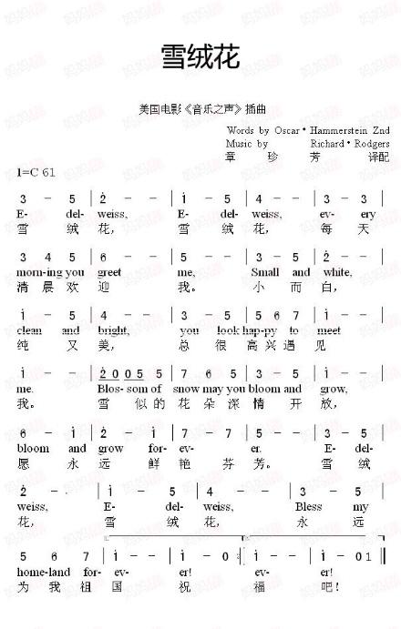 儿歌《雪绒花(edelweiss)》中英文歌曲mp3,歌词,伴奏图片